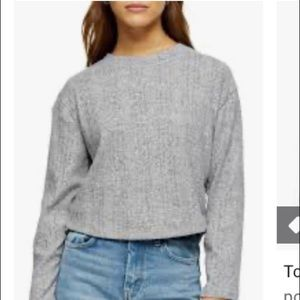 NWT topshop grey split back cut and sew sweater